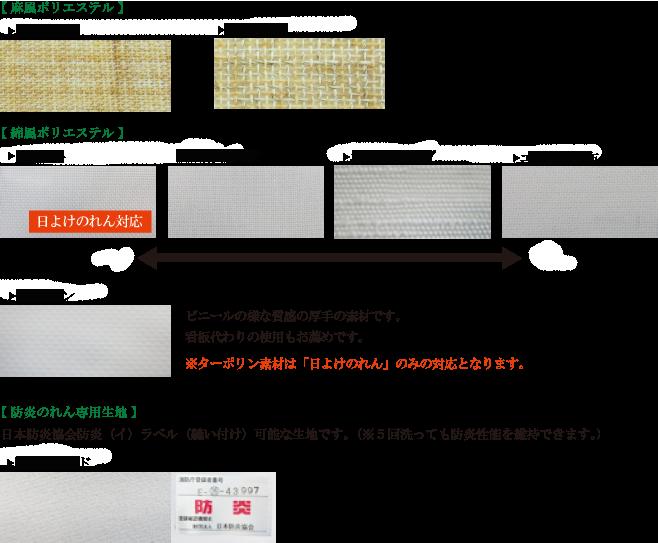 インクジェットプリントで制作できるのれん生地一覧になります。
