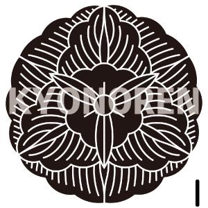 真向う花葵(まむこうはなあおい)家紋1のれんkyonoren.com