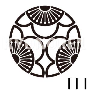 中陰三つ割り向う梅(ちゅうかげみつわりむこううめ)家紋111のれんkyonoren.com