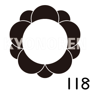 八重梅輪(やえうめわ)家紋118のれんkyonoren.com