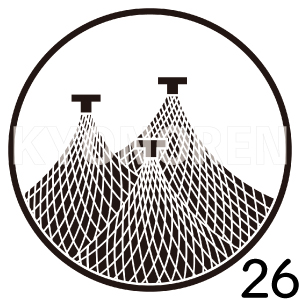 糸輪に三つ干網(いとわにみつほしあみ)家紋26のれんkyonoren.com