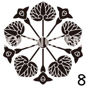 花付き五つ葵(はなつきいつつあおい)家紋8のれんkyonoren.com