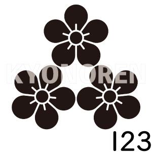 尻合せ三つ梅(しりあわせみつうめ)家紋123のれんkyonoren.com