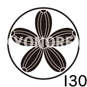 糸輪に五つ真桑瓜(いとわにいつつまくわうり)家紋130のれんkyonoren.com