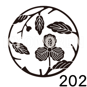 三つ柏枝丸(みつかしわえだまる)家紋202のれんkyonoren.com