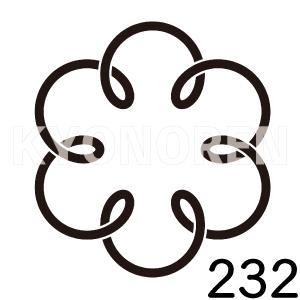 六つ結び釜敷(むつむすびかましき)家紋232のれんkyonoren.com