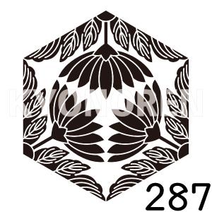 亀甲三つ割り葉菊(きっこうみつわりはぎく)家紋287のれんkyonoren.com